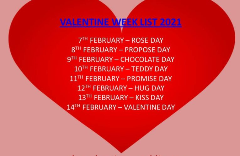Valentine Week List 2021 for Friends and Lovers