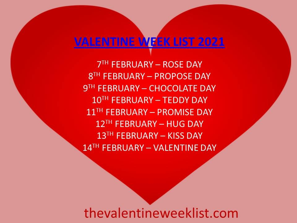 valentine week list 2021